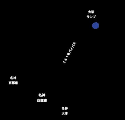 名神高速京都東インターを降りて、琵琶湖方面161号バイパスへ、バイパスをひたすら北上し大沼ランプまで。大沼ランプを降りて約2分でファームに到着します。
