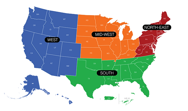 US FootGolf National Championship - Us map divided into regions