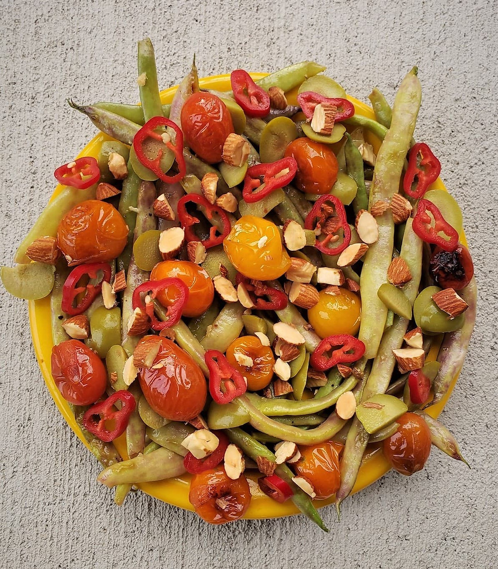 Recipe finished project for farm fresh Dragon Tongue Beans with Cherry Tomatoes and Olives