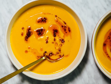 Sweet Potato-Garlic Soup with Chile Oil