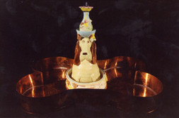 Dog Fountain With Bone Basin