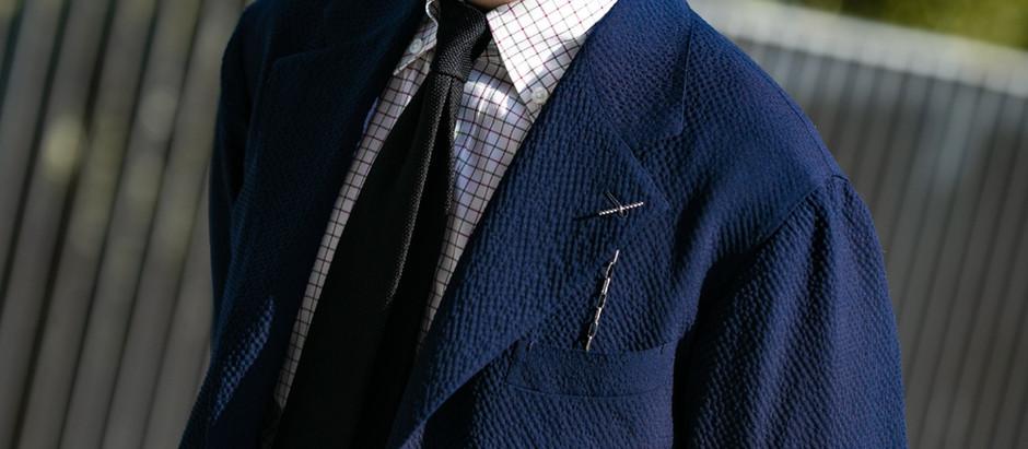 Navy Wool Seersucker Jacket - 七日深藍上衣 by Willy