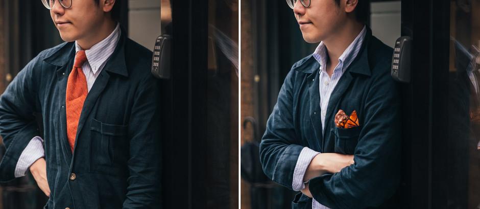 春夏配件: 橘色領帶 v.s. 橘色口袋巾
