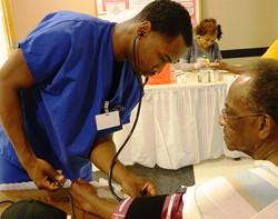 Men Receive Blood Pressure Checks