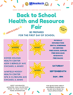 September 8th Back to School Health Fair
