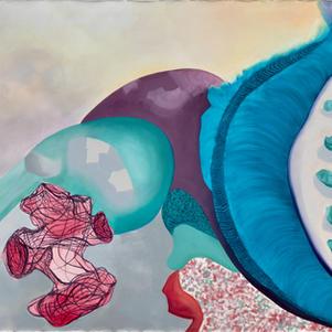 Multiple Interpretations II, oils and spray paint on primed canvas, 160 cm x 200 cm
