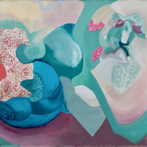 Multiple Interpretations, Oils and spray paint on primed canvas, 160 cm x 200 cm.