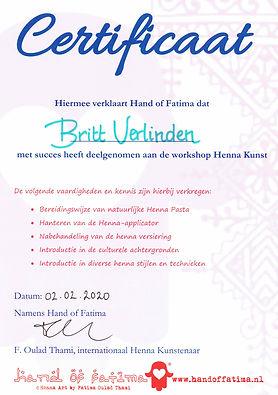certificaat deelname workshop Henna