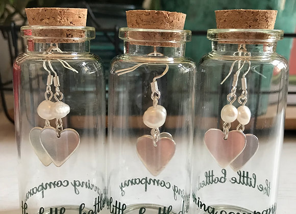 Silver Heart Earrings with Freshwater Pearls