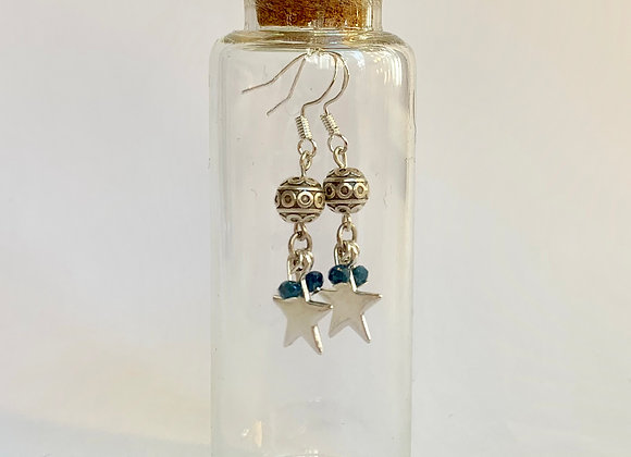 Beautiful Star Earrings with silver and coloured faceted beads