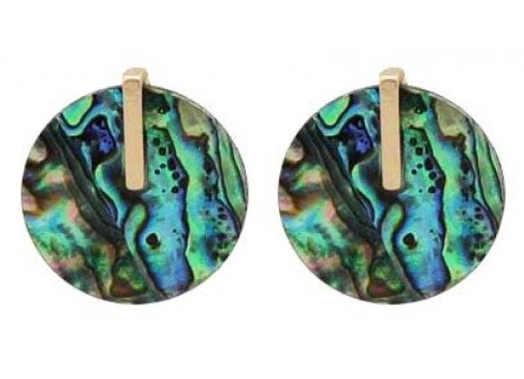 Abalone Stone Circle Studs