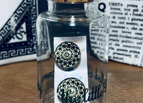 Black Mandala Patterned Stud