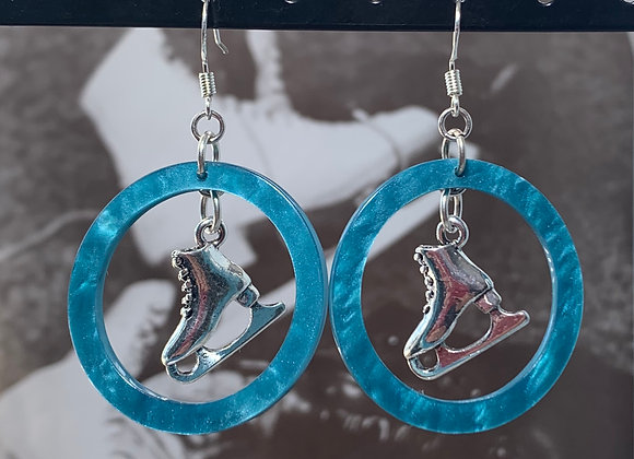 Blue Resin Hoop Skate Earrings