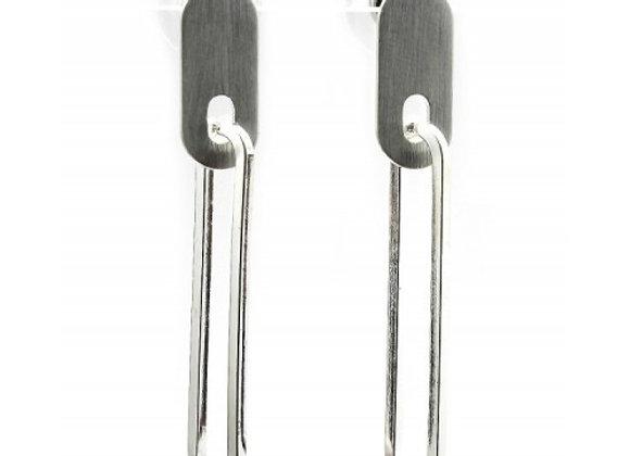 Brushed Brass Stud Earrings