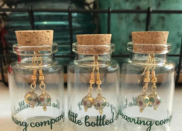 Cloisonne Hand Painted Metal Bead Earrings