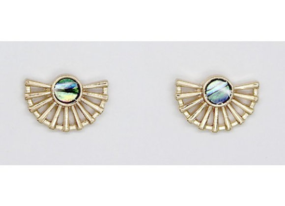 Small Gold Metal Fan with Abalone Stone