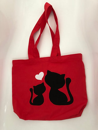 Tote Bag - Love Kitties Reds