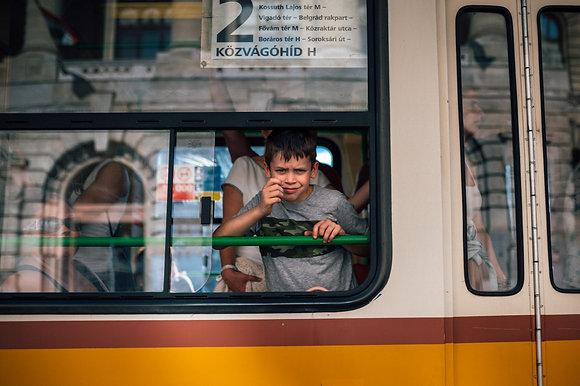 Boy on Tram, Budapest 2019