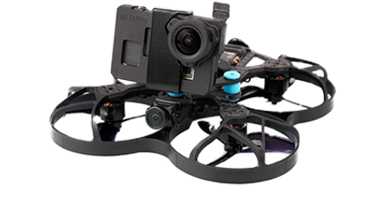 BetaFPV95x small micro drone with stripped GoPro for interior and precision flying