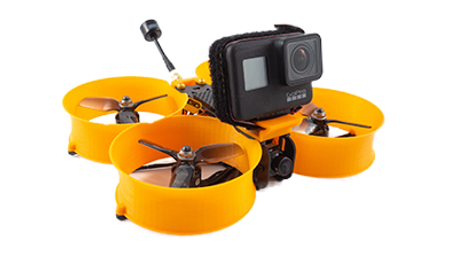 Cinewhoop FPV Drone with GoPro Hero 6 and protective ducts for indoor and safe flying