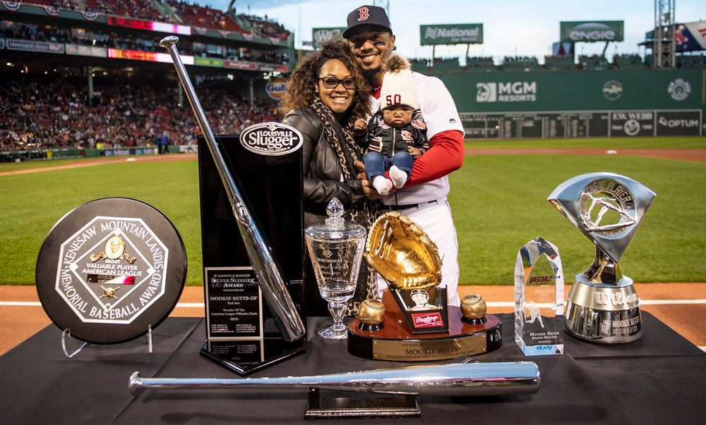 Mookie and all his hardware after the 2018 season. Image courtesy of The Athletic.