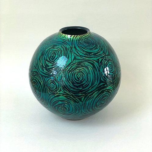 Ono Hakuko, Green Globular Vase