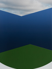 Ombre Blue with Green, White and Clouds, 2018