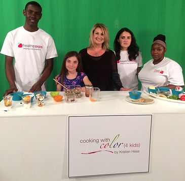 Kristen Hess with Healthcorps kids on Cooking with Color 4 Kids