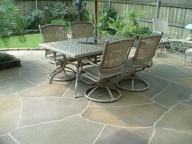 Flagstone Concrete Overlay Patio
