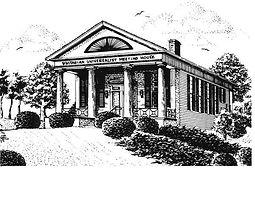 pen and ink drawing of the meeting house in black and white
