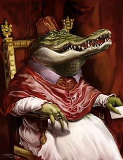 Crocodile Pope_Digital Painting, 2015