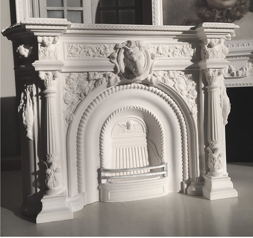 18th Century French Boars Head Fire surround 12th scale unpainted
