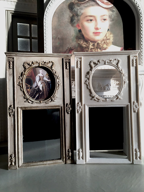 French 18th Century French Trumeau Mirror 12th scale unpainted