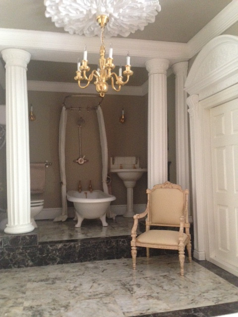 One of my wonderful customers sent me this image of one of the 19th C. chairs in her bathroom
