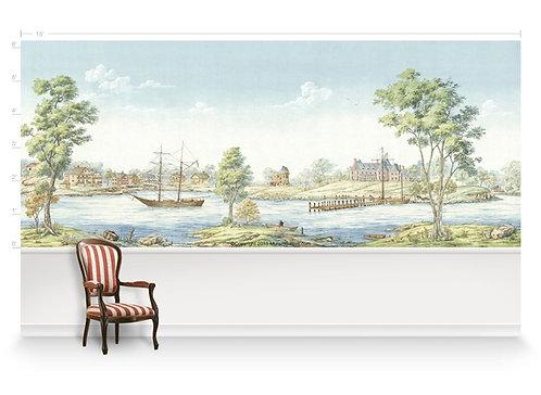 Harbour Scene Panorama Wallpaper Mural
