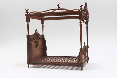 French 4 poster bed 12th scale chestnut finish