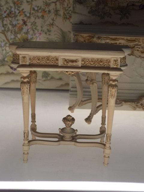 Pretty French Table 12th scale cream & gilt