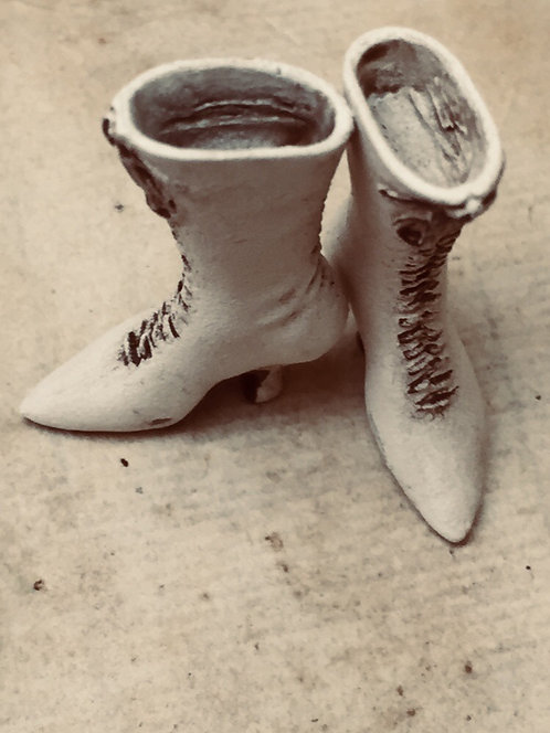 Full length 19th Century Ladies Boots (ready for painting) with laces