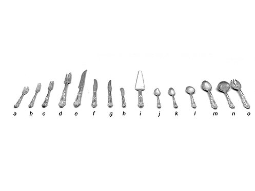 Unpolished set of French cutlery 12th scale