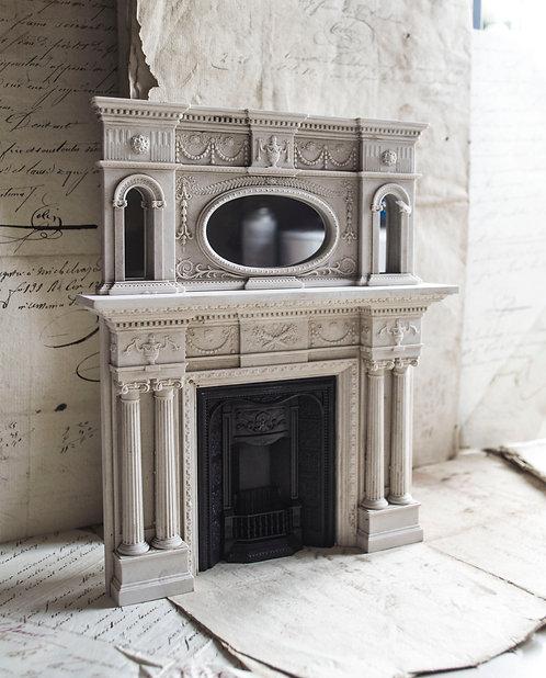 Victorian Fire Surround, insert & Overmantle Mirror