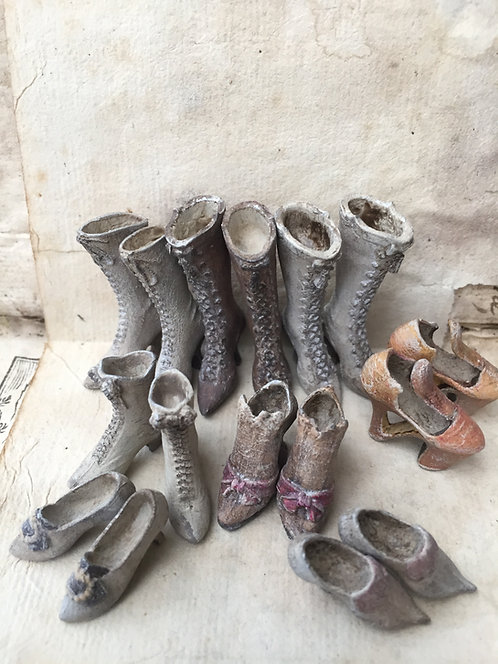 7 pairs of 18th &19th Century Ladies shoes/boots (ready for painting)
