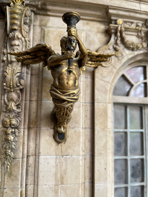 18th century exterior male wall sconces with wings 12th scale