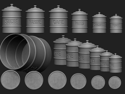 12th scale French Canisters choice of 6