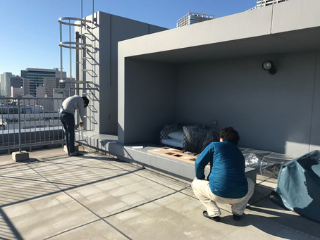 屋上スペースで。