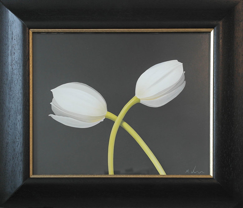 oil painting of two white tulips