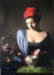 Oil painting of a woman in ciaroscuro lighting wearing traditional clothes sat at a table holding a marble pestle and mortar