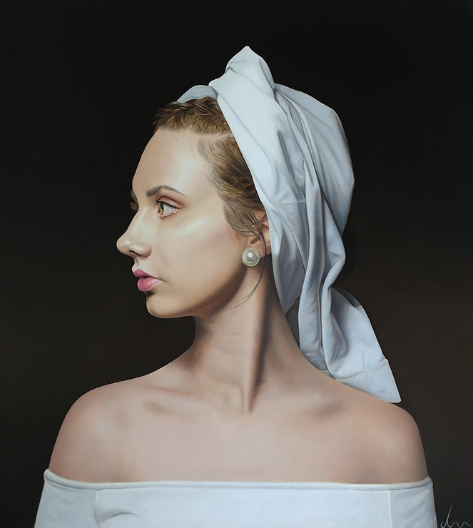 realist oil painting of a woman in a white headdress