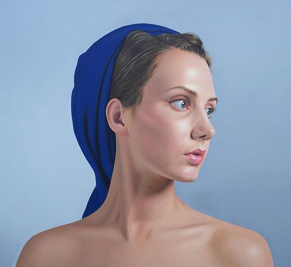 painting by Michael de Bono artist woman wearing a blue headdress realism portrait oil painting contemporary fine art