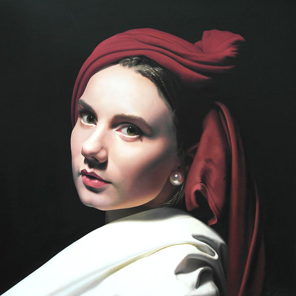 painting portrait realism by Michael de Bono artist woman wearing a red headdress witha pearl earing oil painting contemporary fine art