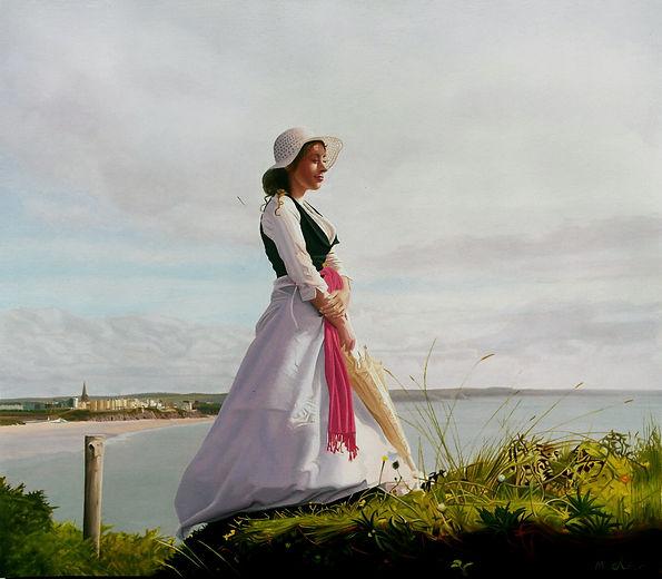 Oil Painting Michael de Bono Fine Art woman standing on hill in dress realism